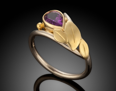 Amethyst & Leaf Ring