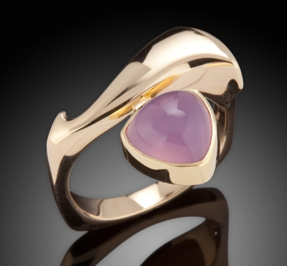 Chalcedony Trillion and Gold Ring