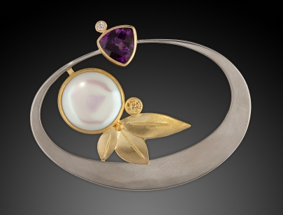 Amethyst & Pearl Brooch with Diamonds